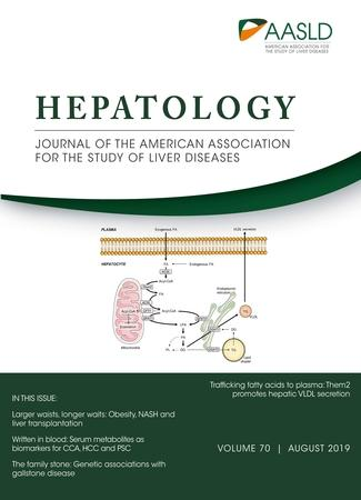 August 2019 cover of Hepatology journal