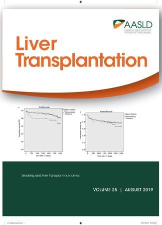 August 2019 cover of Liver Transplantation journal